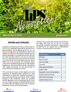 first page of the current TIPS Newsletter